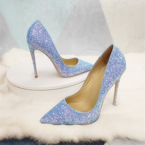 Бесплатная доставка; модные женские туфли-лодочки; Синие Блестящие туфли на шпильке с острым носком; женские свадебные туфли на высоком каб...