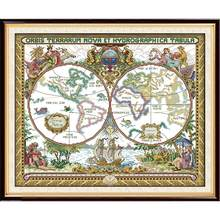 Everlasting love Old world map Chinese cross stitch kits Ecological cotton stamped 11CT DIY gift new year decorations for home(China)