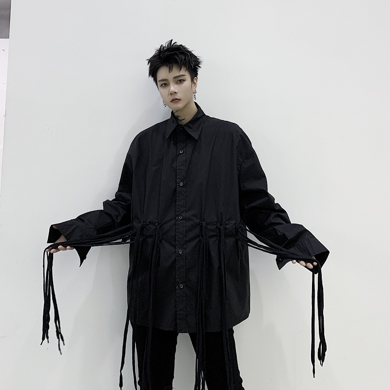 Men Japan Style Casual Loose Long Sleeve Shirt Male Ribbon Streetwear Hip Hop Dark Black Shirt Stage Clothing
