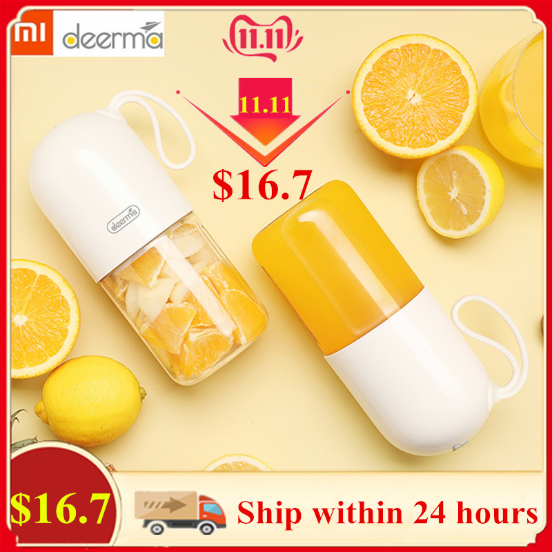Xiaomi Deerma Portable Electric Juicer Blender Multipurpose Wireless Mini USB Rechargable 300ml Juice Cup Cut Mixer For Travel