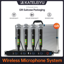 Top Professional 4 Channel UHF Wireless karaoke Microphone System with carry case handhled MIC for Stage Church wedding