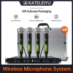 Image 1 - Top Professional 4 Channel UHF Wireless karaoke Microphone System with carry case handhled MIC for Stage Church wedding