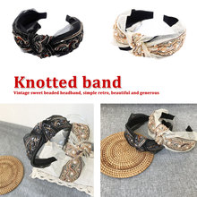 Vintage Bohemian Black Gold Color Lace With Metal Beads Knot Headband Rhinestone Knotted Bow Hairband Retro Hair Accessories