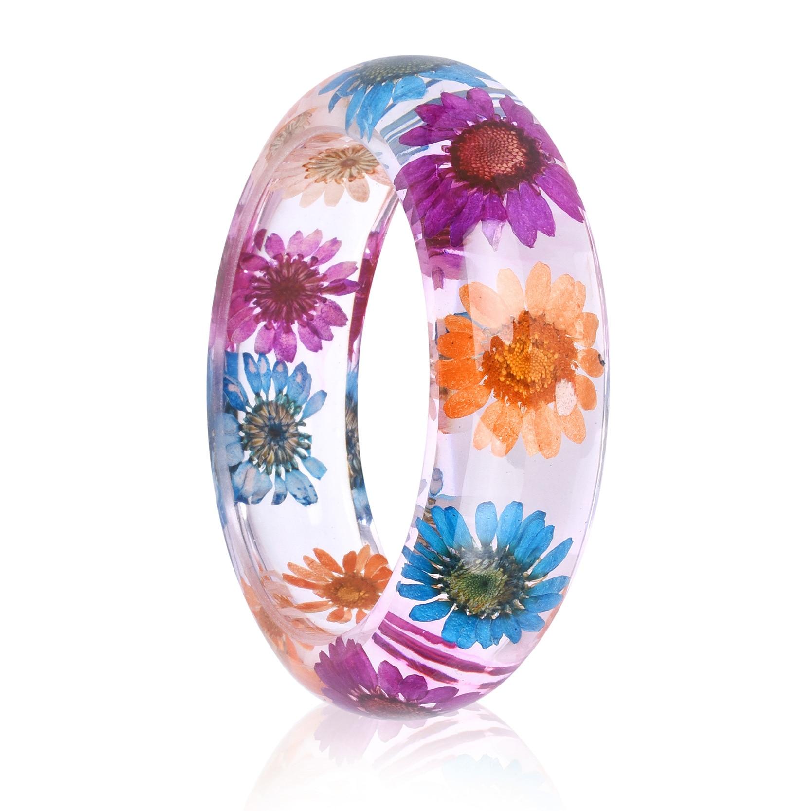 KCALOE Dried Flower Resin Bangles Bracelet For Women Three-color Crystal Chrysanthemum Inside Vintage Jewelry