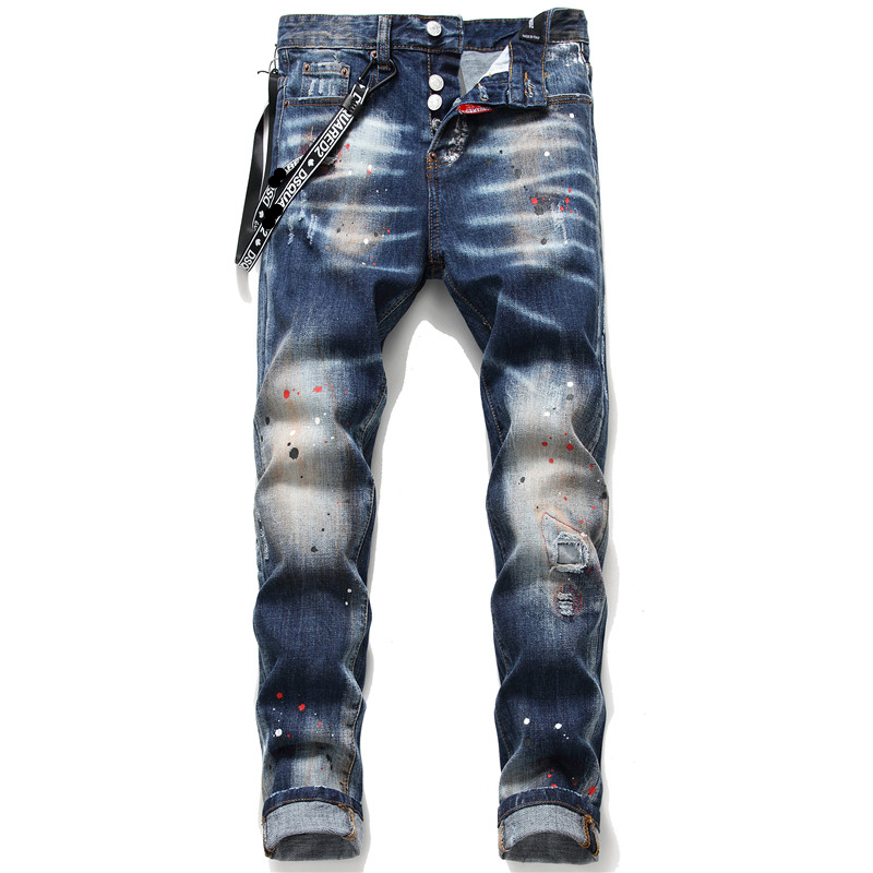New Men Skinny Jeans Elastic Ribbon Ripped Jeans For Men Paint Male Trousers Clothes Spring Autumn Little Stretch Hip Hop
