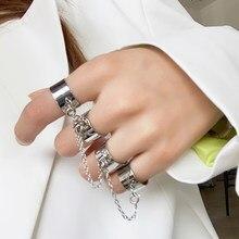 2020 novo estilo punk elo de corrente vários anéis de dedo aberto para festa feminina concerto cerimônia moda jóias presente atacado