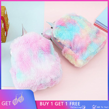 Unicorn Faux Fur Backpack Girls Women Leather School Bags For Teenage Girls Winter Kids Backpack Mini Pink Back Pack Schoolbag цена 2017