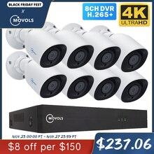 MOVOLS 8CH 4K Ultra HD טלוויזיה במעגל סגור מצלמה מערכת H.265 CCTV ערכת 8MP DVR חיצוני בית עמיד למים וידאו אבטחת מעקב מערכת