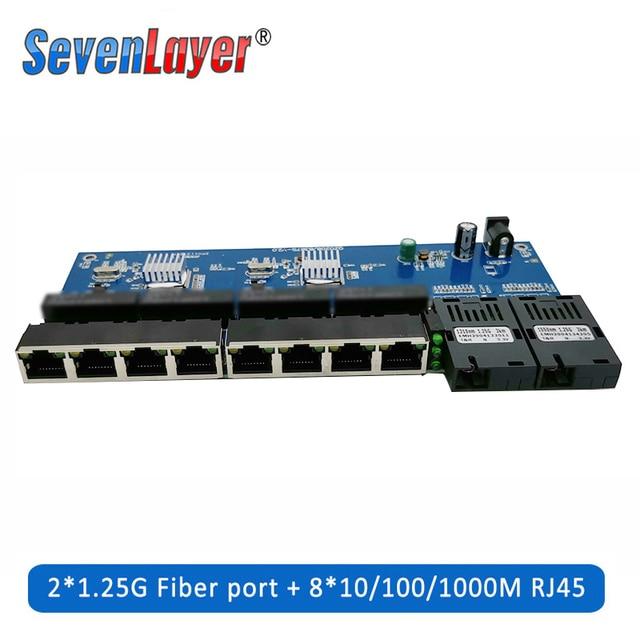10/100/1000M Gigabit Ethernet Fiber Optical Media Converter PCBA 8 RJ45 UTPและ2 SCพอร์ตไฟเบอร์บอร์ดPCB 1PCS