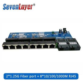Conmutador Ethernet Gigabit 10/100/1000M, convertidor de medios de fibra óptica PCBA 8 RJ45 UTP y 2 puertos de fibra óptica SC, placa PCB