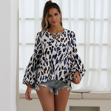 JYSS new plus size printed blouses woman 2019 long flare sleeve v neck bandage blusa feminina womens tops and girl 30028