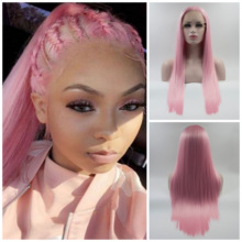 Fantasy Beauty Pink Straight Synthetic 13x4 Lace Front Wig Heat Resistant Fiber