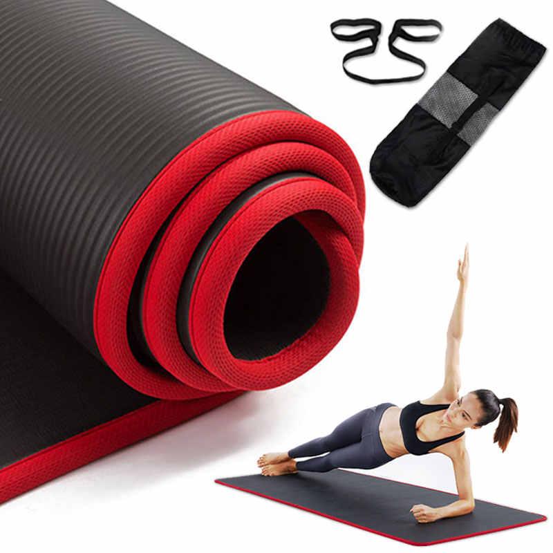10MM zagęszczona mata do jogi bardzo gruba wysokiej jakości siłownia NRB 183X61cm ćwiczenia Pilates Fitness bez smaku miękka siłownia z bandażem