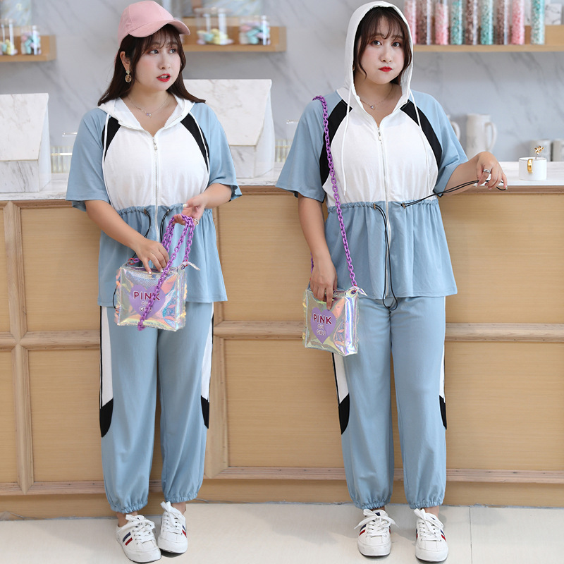 [Xuan Chen] Fat Mm Large Size Dress Summer New Products Casual Sports Clothing Set 200 Slimming Two-Piece Set X067