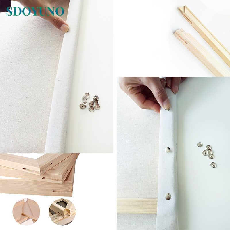 SDOYUNO DIY إطار الطلاء بواسطة أرقام خشبية إطار 40x50 سنتيمتر 50x65 سنتيمتر 60x75 سنتيمتر مزيج فريد هدية جدار صورة فنية الأعمال الفنية