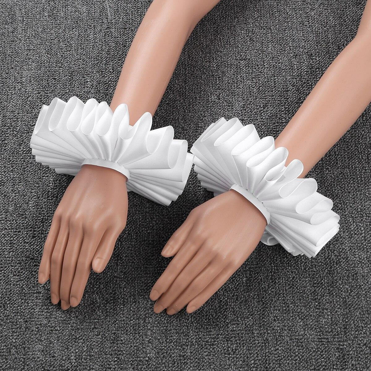 MSemis Women Men Renaissance Elizabethan Ruffled Wrist Sleeves Cuffs Bracelet Victorian Costume Halloween Cosplay Accessories