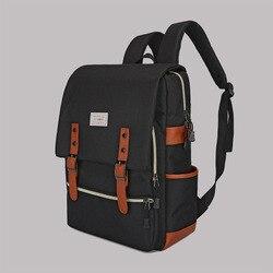 Mochila de moda con múltiples bolsillos, mochila transpirable de estilo Retro con USB para viajes casuales al aire libre, bolsa de lienzo funcional para estudiantes de secundaria