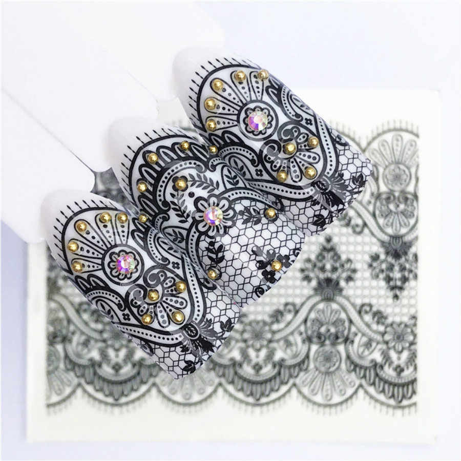 1 Pcs เซ็กซี่สีดำลูกไม้ดอกไม้ DIY Nail Art STAMP ภาพสแตนเลสสตีลเล็บแม่แบบลายฉลุเล็บเครื่องมือ # Ms2