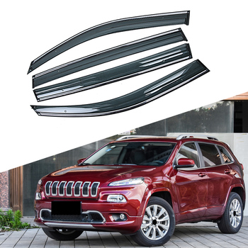 For JEEP Cherokee KL 2013-2019 Car Window Sun Rain Shade Visors Shield Shelter Protector Cover Trim Frame Sticker Accessories