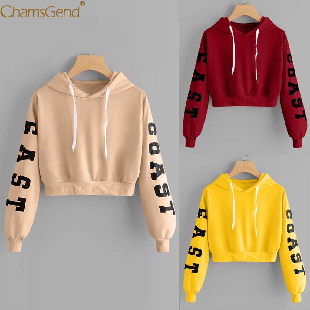 십대 소녀 긴 소매 까마귀 스웨터 자르기 가기 편지 인쇄 블라우스 셔츠 레드 카키 옐로우 여자 자른 스웨터 908