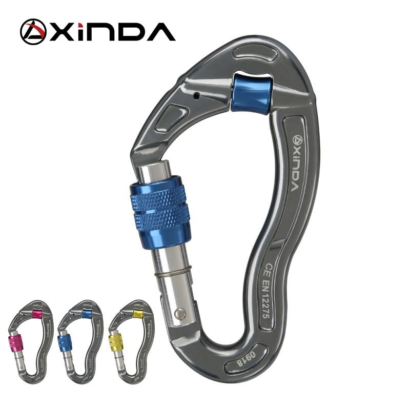 XINDA Professional Outdoor Rock Climbing 25KN Tension Safety Lock Supervivencia Screw Locking Carabiner Rock Survival Kit(China)