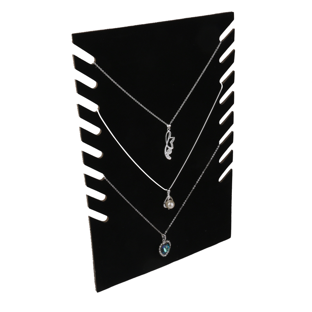 Black Velvet Cardboadrd Jewelry Necklace Pendant Display Showcase Rack Shop Counter Home Stand Jewelry Holder