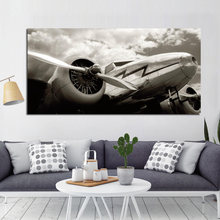 Retro Print Abstract Blank White Airplane Landscape Painting Aircraft Landscape Poster Canvas Art Wall Picture for Living Room(China)