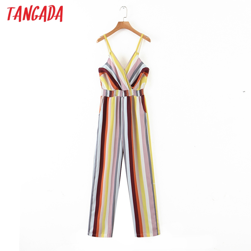 Tangada Women Summer Striped Print Long Jumpsuit Sleeveless Strethy Waist V Neck Female Casual Jumpsuit HY227