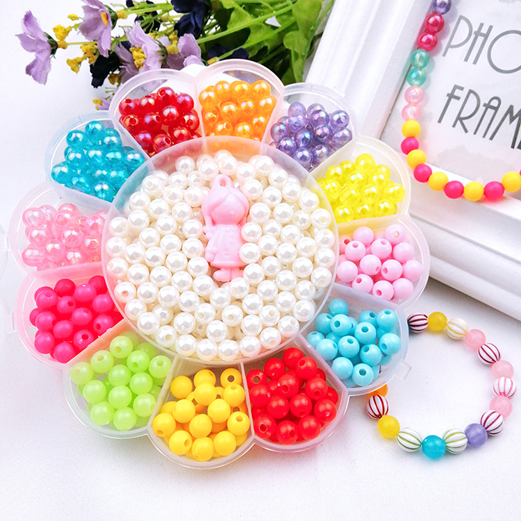 Diy Children's Beaded Set Sunflower Boxed Puzzle Beaded Amblyopia Training Girl's Toy