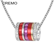 Cremo Necklace Women Jewelry Stainless Steel Chain Pendant Interchangeable Combination Crystal Femme