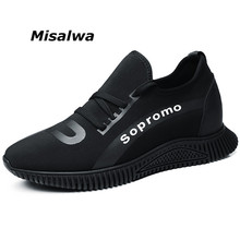 Misalwa Mens Hidden Heels Elevator Shoes New Cool Young Boy Sneakers Low Top Mocasines Hombre Height Increase Black Casual Shoes
