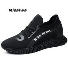 Misalwa رجالي المخفية الكعوب مصعد أحذية جديد كول شاب بوي أحذية رياضية منخفضة أعلى Mocasines Hombre الارتفاع زيادة أسود حذاء كاجوال