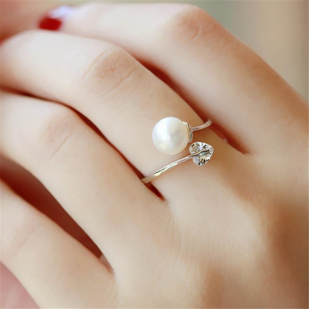 YKNRBPH Women's S929 Sterling Silver Pearl Ring Open Romance Girls Weddings Gift Fine Jewelry Rings
