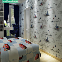Blue sky and white clouds sailing pattern non woven children's room wallpaper living room shop bedroom TV background wall paper