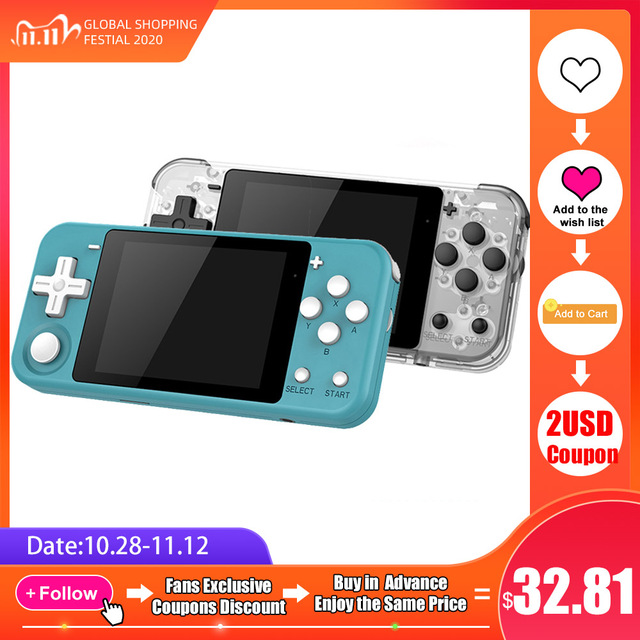 """Q90 Handheld Video Game Console Retro Games 3 """"HD IPS Screen Kids Gift 16 Simulator Support PS1 3D games Open Source Dual System"""