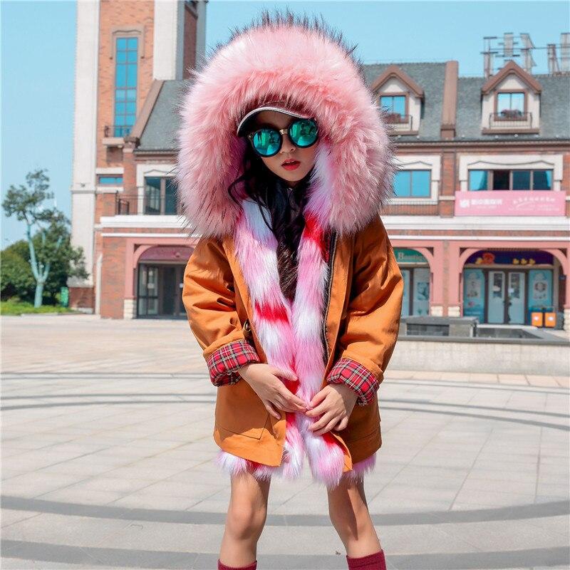 Kids Faux Fur Coat for Girls Collar Hoodies Jackets In Boys Winter Children Outerwear 2019
