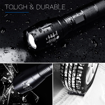 EZK20 Q250 TL360 T6 LED Handheld Tactical Flashlight Zoom Torch Light Camping Lamp for 18650 Rechargeable Battery AAA 4