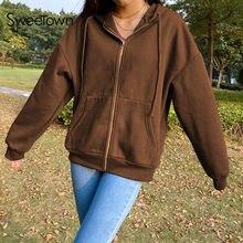 Sweetown Brown Y2K estetyczne bluzy damskie Vintage Zip Up bluza zimowa kurtka ubrania kieszenie z długim rękawem swetry z kapturem
