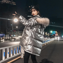цена на Black White Duck Down Jackets Girls 2019 Winter Jacket Thick Long Coat for Women Hooded Down Parka Waterproof Women's Coat Cloth