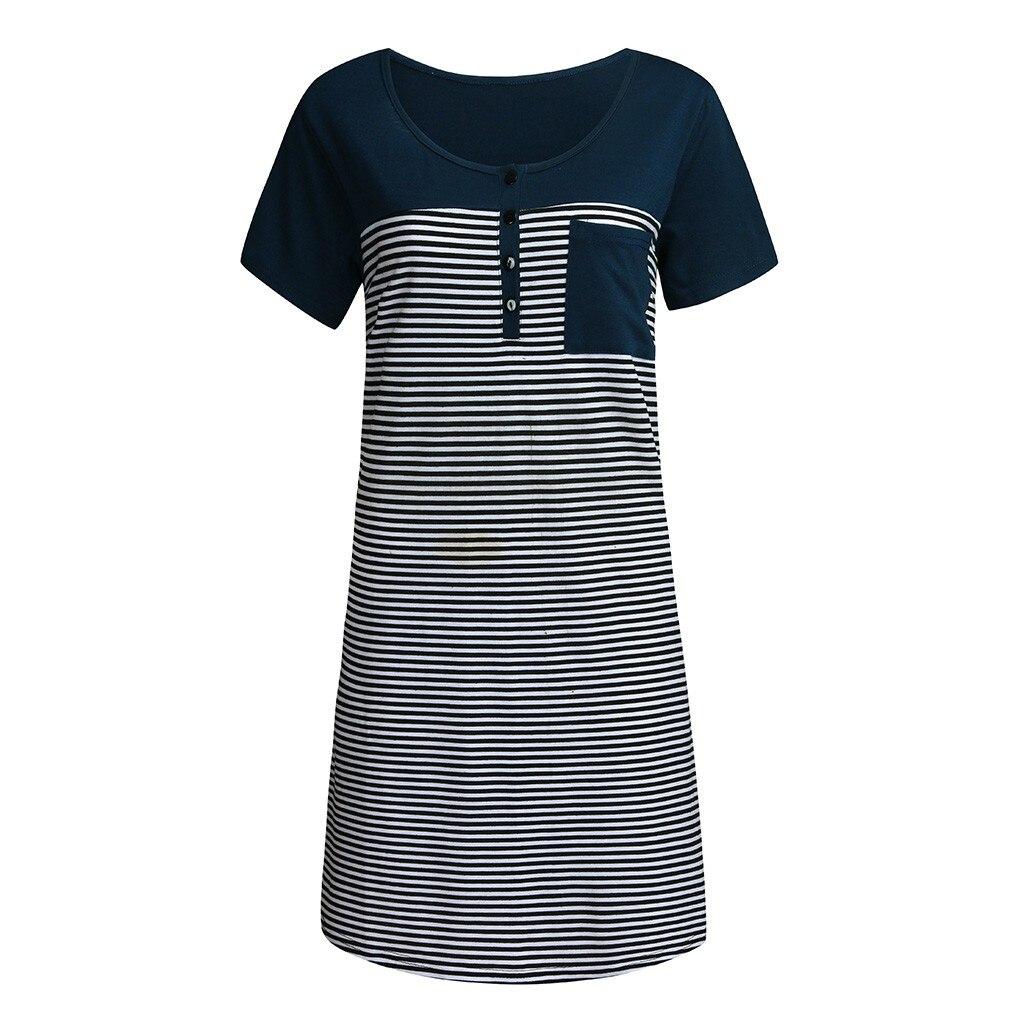 Women Maternity Short Sleeve Pocket Striped Nursing Dress For Breastfeeding Pregnancy Dress Maternity Dress Ropa Embarazada