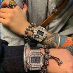 Brand Street Fashion Unisex LOVERS LED Watches 100% Waterproof Rubber Watch Luxury Diamonds Crystals Digital Wrist watch Square