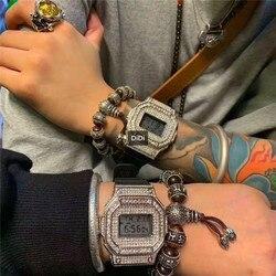 Di marca di Moda di Strada GLI AMANTI Unisex LED Orologi 100% Impermeabile Orologio di Gomma di Lusso Diamanti Cristalli Digital orologio Da Polso Quadrato