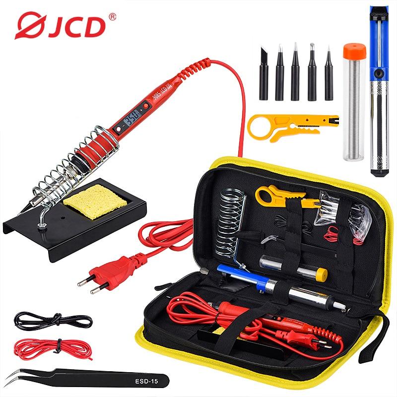 JCD Soldering iron kit adjustable temperature 220V 80W LCD solder welding tools Ceramic