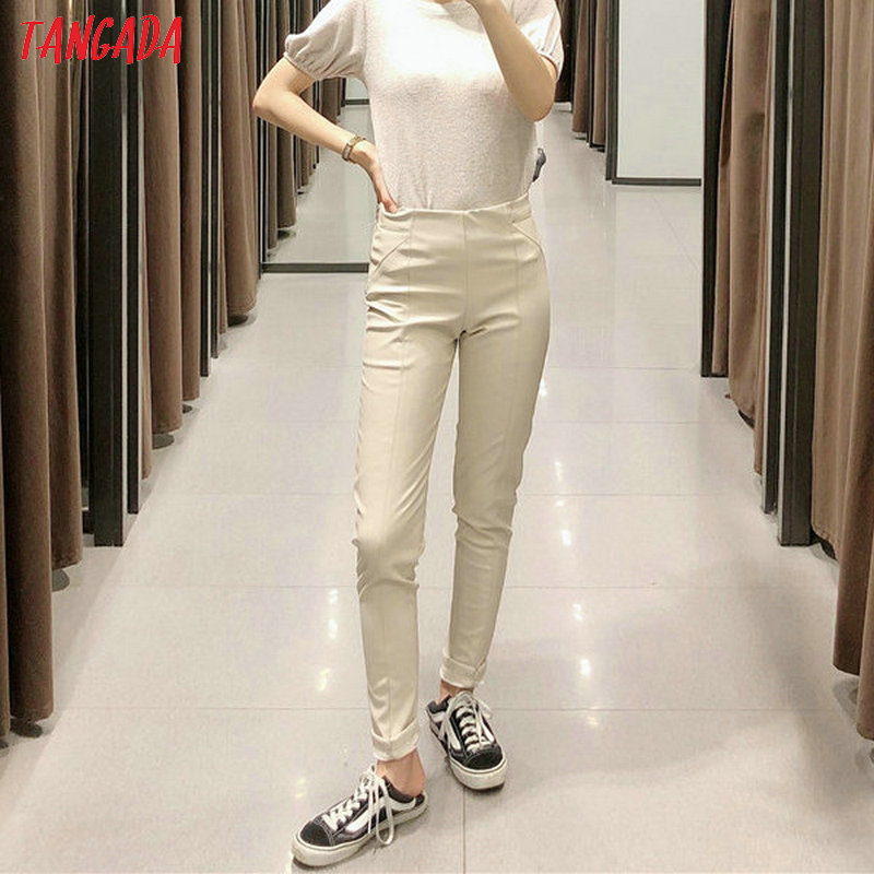 Tangada women white skinny PU leather pants stretch zipper female autumn winter pencil pants trousers 6A04 23