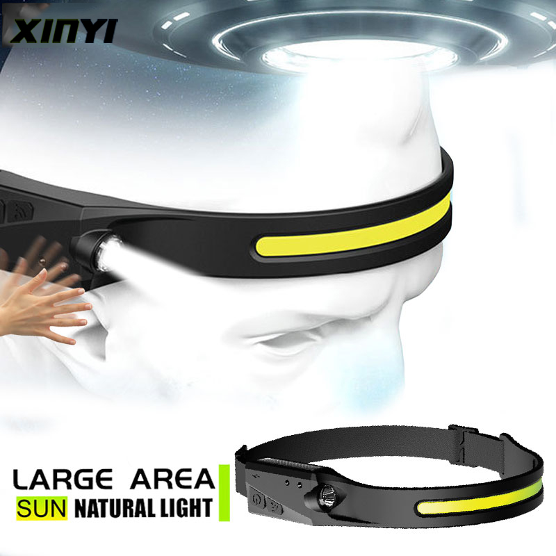 2021New Style Induction Headlamp Silicone COB LED Headlight With Built-in Battery Flashlight USB Rechargeable Head lamp torch
