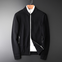Stand Collar Sweater Plus Size 4xl Two Pocket Black Zipper Cardigan Men Fashion Add Thick Simpe Casual Mens Sweaters