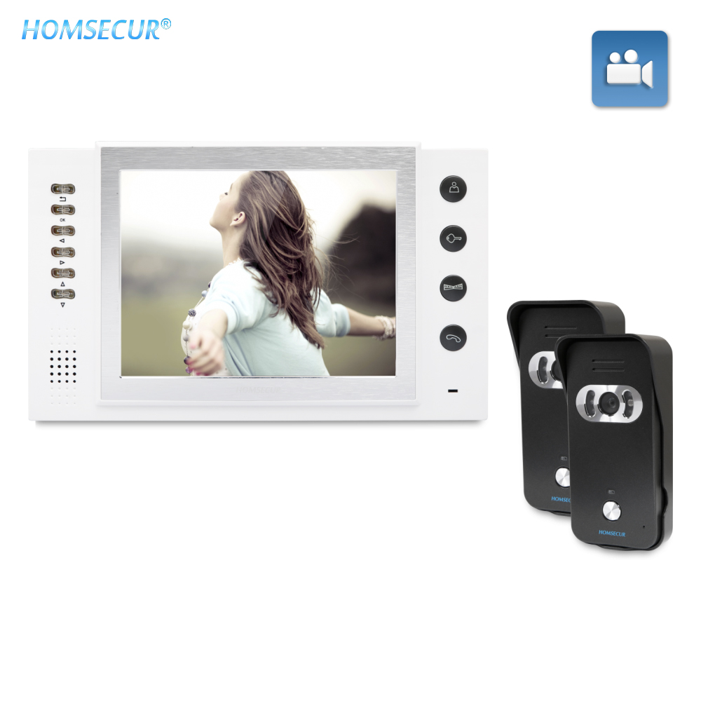 "HOMSECUR 8"" Wired Video Door Phone Security Intercom with Recording Photo taking 700TVLine IR Night Vision TC021 B+TM801R W|Video Intercom| |  - title="