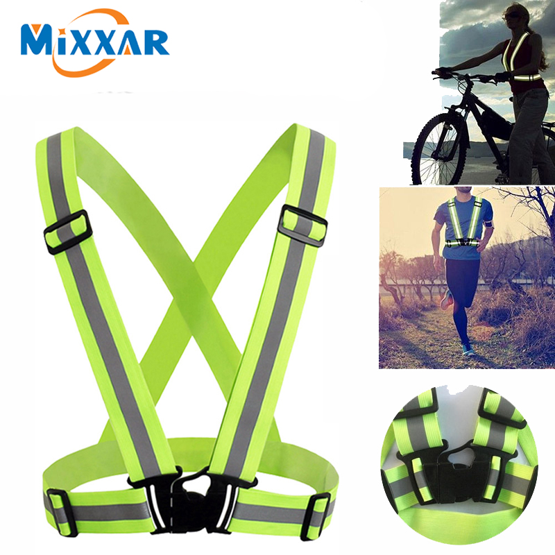 Dropshipping light Reflective Elastic High Visibility Safety Vest Belt Unisex  Fit For Running Cycling Outdoor Sports Clothes