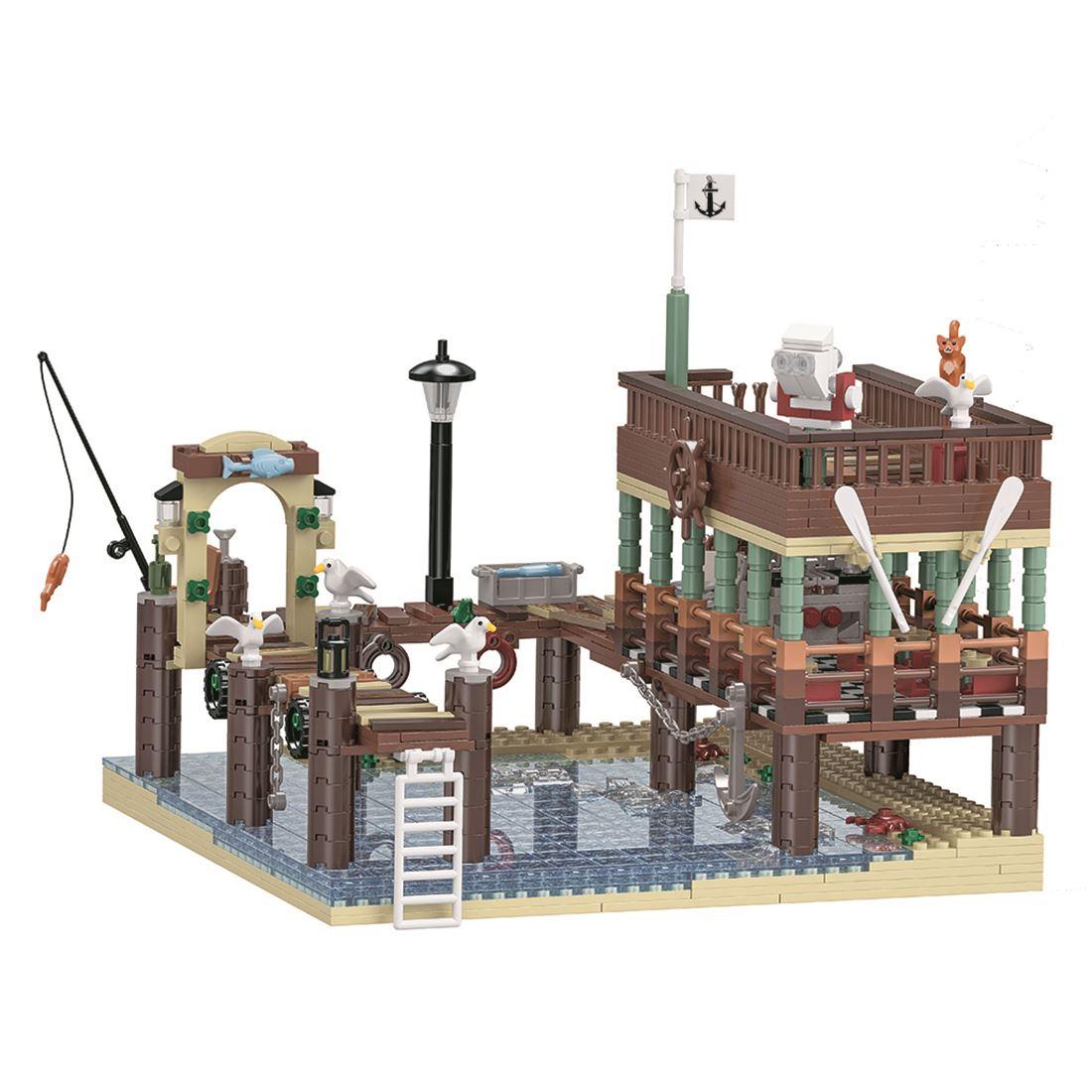 1394Pcs MOC Small Particle 3D Street View Fish House Pier Building Blocks DIY Assembly Building Kit Building & Construction Toys