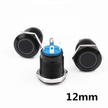 цена на Black Push Button Switch 4 Pin 12mm Waterproof Led Light Metal Flat Head Momentary/Latching Switches Self-locking/Self-reset
